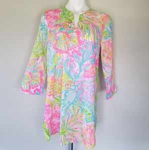 Lilly Pulitzer Lovers Coral Tunic Top V Neck XS